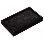 "11 Ring Clip Tray: Black Suede, 9"" x 5.5"""