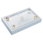 "11 Ring Clip Tray: White Leather, 9"" x 5.5"""