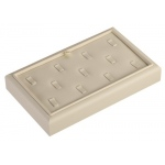 "11 Ring Clip Tray: Off-White Leather, 9"" x 5.5"""