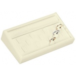 "11 Ring Clip Tray: Off-White Leather, 7"" x 4"""