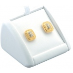 1 Pair Studs Display: White Leather