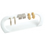 3 Pair Arch Earring Display: White Leather