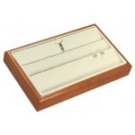 3-Row Pendant/Earring Tray: Beechwood/Off-White