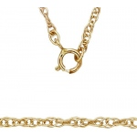 "14K Yellow 1.3mm Carded Machine Rope Chain: 16"" Length"