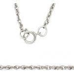 14K White 1.3mm Carded Machine Rope Chain: 16""