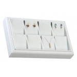 8-Earring/Pendant Tray: White Leather