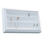 3-Row Earring/Pendant Tray: White Leather