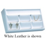6-Pendant/Earring Tray: Off-White Leather