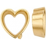 14K Yellow Tapered Heart Shaped Bezel: 6.50 mm Height, 6.5 mm x 6.5 mm Size
