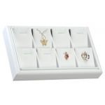 8-Pendant Tray: White Leather