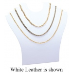 Multi-Necklace Stand: Off-White Leather