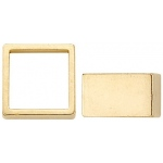 14K Yellow High, Square Straight Bezel with Seat: 6.5 mm Size, 4.43 mm Height