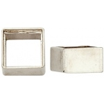 14K White High Square Gold Straight Bezel with Seat: 6.5 mm Size, 4.43 mm Height
