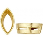 14K Yellow Marquise Tapered Bezel with Bearing: 0.04 Carat Size,  3.0 mm x 1.5 mm Size, 2.96 mm Height