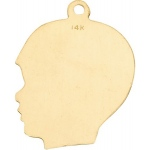 14K Yellow Afro Boy Head Profile Charm: 14.5 mm x 11.0 mm
