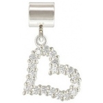 Silver Open Heart with Crystal: 5.0 mm Hole Size