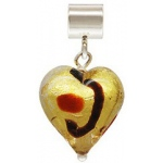 Gold & Ruby Glass Heart Caprice Slider: 12.0 mm Size