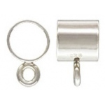 Silver Tube with Ring Charm Finding: 5.0 mm Size