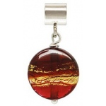 Ruby & Gold Glass Caprice Slider Bead: 12.0 mm Size