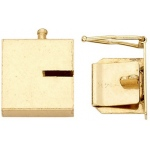 14K Yellow Closed Top Lock: 13.47 mm L x 16.13 mm W x 3.37 mm D