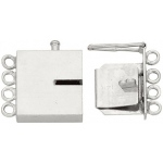 14k White Rectangle Closed Top Clasp with Link: 12.74 mm L x 3.11 mm W x 2.26 mm D