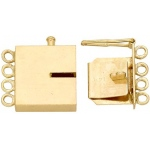 14K Yellow Rectangle Closed Top Clasp with Link: 15.39 mm L x 10.85 mm W x 3.23 mm D
