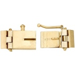 14K Yellow Hinged Lock with Link: 15.56 mm L x 5.40 mm W x 2.16 mm D