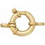 14k Yellow Gold Heavy Spring Ring with 2 Rings: 14.0 mm x 3.5 mm Size