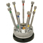 Screwdrivers On Rotating Stand: Set of 9, Quantity of 9 Spare Blades