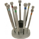 Screwdrivers On Stand: Set of 9, 0.5mm to 2.5mm Blade Size, Quantity of 9 Spare Blades