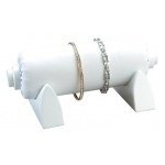 Bangle/Watch Tube On Stand: White Leather