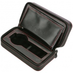 Black Leather 2 Watch Travel Case