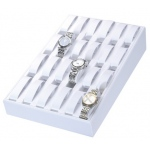24-Watch Tray: White Leather