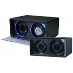 Diplomat Black Leather 2-Watch Winder With LED