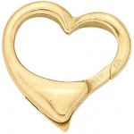14K Yellow Heart Shape Lobster Clasp: 13.5 mm x 13.6 mm Size