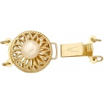 14k Yellow Round 2-Strand Lock with 5.5mm Pearl: 12.4 mm