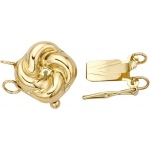 14K Yellow, 2 Strand Round Flower Clasp with Peg: 10.60 mm