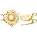 14K Yellow, 2 Strand Round Flower with Peg Clasp: 10.5 mm