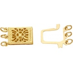 14K Yellow Gold, 3 Strand Clasp: 14.70 mm Width x 7.40 mm Length