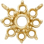 14k Yellow Round Top Cluster: 5.2 mm Center Stone