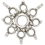 14k White Round Top Cluster: 3.4 mm Center Stone