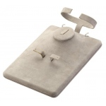 Combination Necklace, Ring, Earring & Bangle Display: Gray Suede