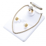 Combination Necklace, Ring, Earring & Bangle Display: White Leather