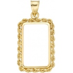 14K Yellow 4-Prong with Bail & Rope for Swiss Bezel: 23.5 mm x 14.0 mm x 1.3 mm Size, 5.0 Gram Swiss Credit Coin Type