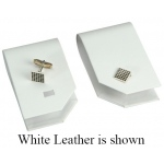 1-Pair Cufflinks Display: Off-White, Leather