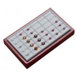 24-Stone Tray with Insert: Cherrywood/White