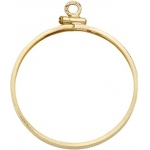 14K Yellow Screw with Coin Edge Bezel: 30.00 mm x 2.79 mm Size