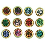 24k Gold-Plated Stainless Surgical Steel Ear Piercing: Alexandrite, Pack of 12 Pairs