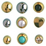 24k Gold-Plated Stainless Surgical Steel Ear Piercing: White Ball, Pack of 12 Pairs