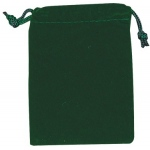 "Green Velour Drawstring Bags: 2 3/4"" x 3 3/4"", Pack of 10"
